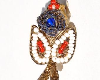 Vintage 1930's bead flower pin brooch, Native American, metallic thread & beads, pin back