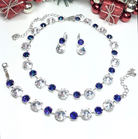 "Swarovski Crystal 12MM/8.5mm Bridesmaid Special - 4 Bracelet and Earring Sets - ""Diana"" -  Crystal White Patina & Heliotrope- FREE SHIPPING"