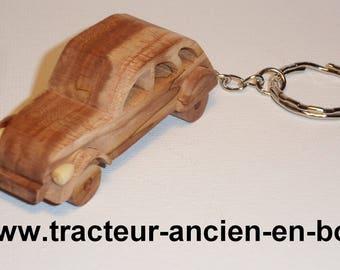 solid wooden 2cv keychain