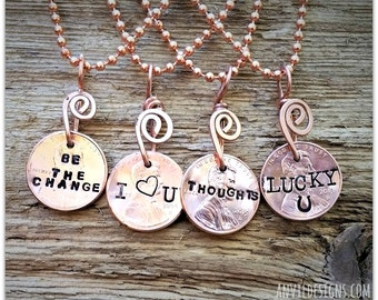Copper Penny Charm, Lucky Horseshoe, Be the Change, I Heart U, Penny for Your Thoughts, Gifts Under 10.00, Hand Stamped, Coin Necklace, USA