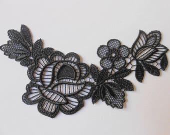 Applique lace black 16 x 9 cm