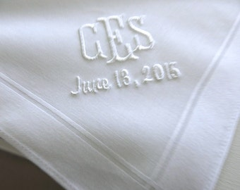 Mens Cotton Handkerchief with 3-Initial Monogram & Date