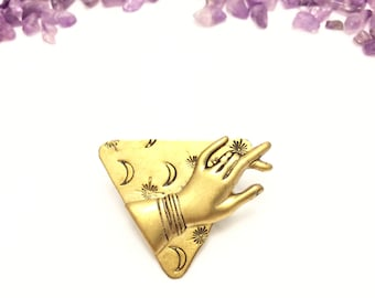 dandy hand pin with moon and stars  (hand-stamped brass)