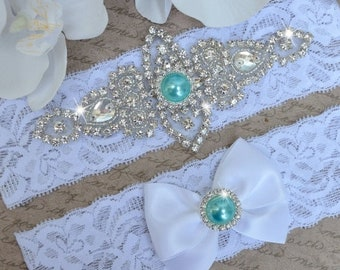 ON SALE Wedding Garter- Bridal Garter- Pearl Garter- Crystal Garter- Garter Set-  Lace Garter- Bridal Garter- Rhinestone Garter- Mint Weddin