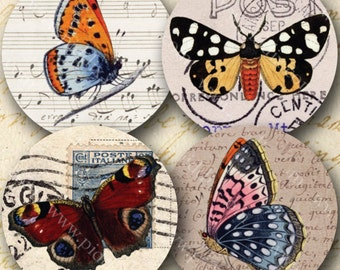 Paper Butterflies 1 inch circles -- Two Digital Collage Sheets in One -- piddix 802