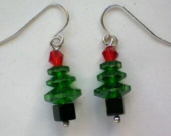 Glass Bead Christmas Tree Earrings