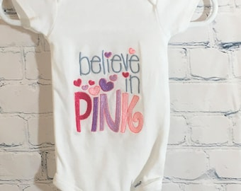 Baby Girl, Embroidered Onesie, Baby Gift, Baby Shower, Believe in Pink,Believe, Little Girl