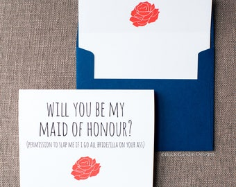 Floral Will You Be My Bridesmaid Bridezilla On Your Ass Card | Cute and Funny Way to Ask Your Maid of Honour | Ways to Ask Your Bridal Party