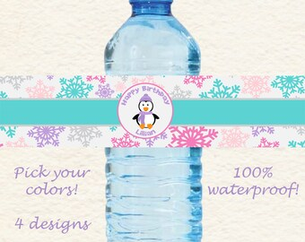 Pinguin Winter Wonderland Waterproof Water Bottle Labels