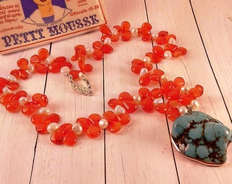 Handmade Carnelian & Turquoise Statement Necklace