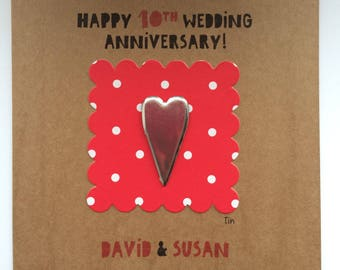 Personalised 10th (tin) wedding anniversary card/tenth anniversary/customised card/tin heart