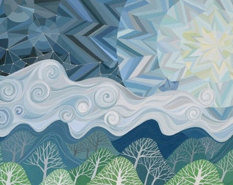 I Have Set Sail on a Fast Mountain art print, geometric chevron sky and moon, clouds, mountains, forest, paper boat constellations