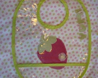 Strawberry Yum Waterproof Vinyl Bib Pattern