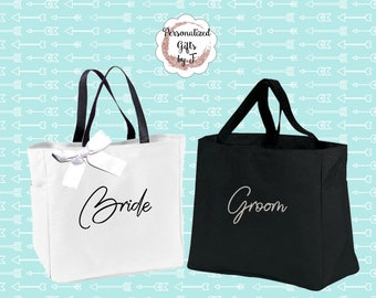 Set of 2, Bride and Groom Gift Tote bags,  Wedding Totes, Day of Wedding Bag, Wedding