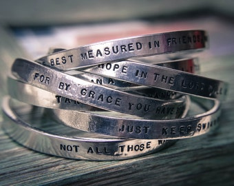 Stamped silver quote or verse bracelet personalized