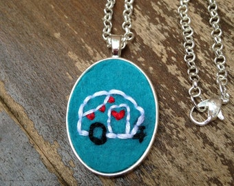 Retro Camper Necklace, Embroidery Necklace, Vintage Camper Embroidery, Camper Jewelry, RV Jewelry, RV Art, Travel Trailer