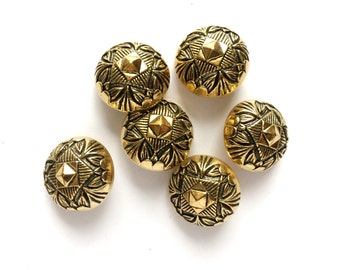 5 Gold Metal Shank Fancy Buttons, 21mm