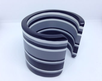 Vintage Black , white , grey plastic cuff
