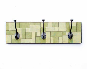 Green Clothes Hook, Yellow Coat Rack, Geometric Mosaic Rack, Recycled Wood Hook, Handmade Paper, Functional Wall Art