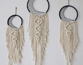 Mini Crescent Moon Dreamcatcher with macrame tail