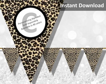 Leopard Print Bunting Pennant Banner, Jungle Safari Party Decorations, Animal Print, Instant Download