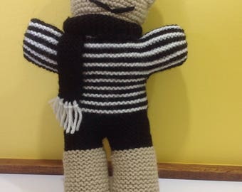 Collingwood Knitted Teddy Bear - Soft toy, plushie, stuffed animal - AFL/ Football team - Black & white - Baby toy