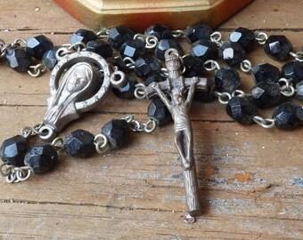 Vintage Rosary crystal black beads Jesus cross crucifix religious medal Prayer