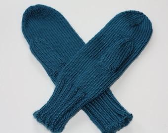 Knit Kids Mittens, Blue Winter Mittens for Kids, Kids Halloween Costumes, Kids Cosplay Accessories, Mittens on String Ocean Blue