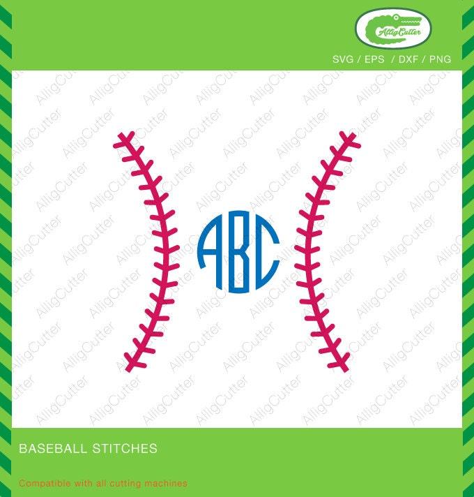 Baseball Stiche Monogramm Rahmen SVG DXF PNG Eps Softball