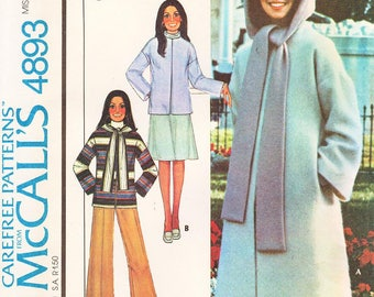 """Sz Med/Bust 36"""" to 38"""" - McCall's Coat Pattern 4893 - Misses' Unlined Coat or Jacket, Hood and Pants - Vintage 70's Marlo Thomas Pattern"""