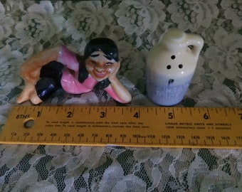 Cute Hillbilly Girl with Moonshine Jug, Ceramic, Japan, Salt & Pepper Shakers