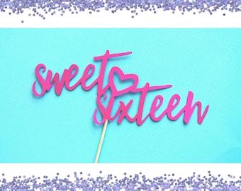 Sweet Sixteen Party Decorations. Cake Topper. Sweet 16 Centerpiece. Sweet Sixteen. Sweet 16.