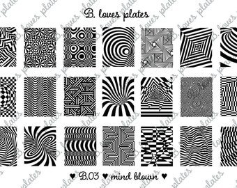 B.03 - mind blown - nail stamping plates (B. Loves Plates)