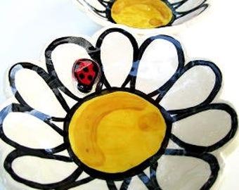 Ladybug on a Daisy Handmade Pottery mini bowl soap dish by Artzfolk