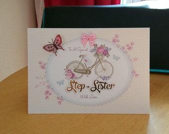 Step Sister Birthday Card - luxury quality bespoke UK handmade