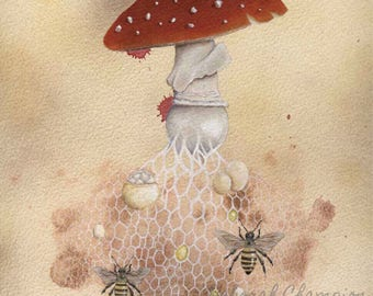 The Bee Algaric. Fly Algaric archival art print. Fairytale toadstool mushroom painting.