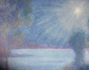 XLPainting, Dreamy Night Scene, Moonlight Painting, Blue Purple Landscape Painting