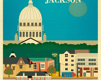 SALE Jackson 8x10 Print, Mississippi, Jackson MS Wall Art, Travel Art, Loose Petals City Print, Jackson ms Capitol Art - style E8-O-JAC-Ms