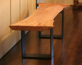 live edge maple bench from urban salvage wood and high recycled content steel - modern industrial