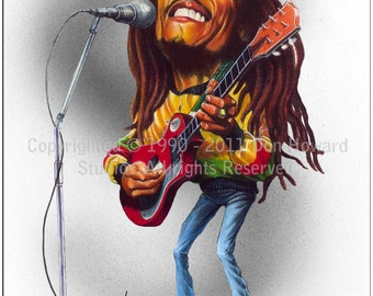 Don Howard's Depiction of Bob Marley Limited Edition Celebrity Caricature