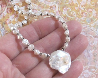 Huge White Keshi Pearl Necklace Sterling Silver Chain DJStrang Boho Chic Bridal Bride Wedding