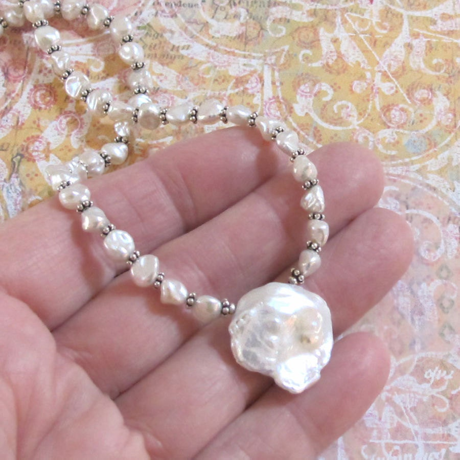 Keshi Pearl Necklace: Huge White Keshi Pearl Necklace Sterling Silver Chain DJStrang