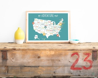 USA Adventure Map Wall Art Print, Personalized Travel Map, 18x12, Blue, Kid's USA Map, Gender Neutral, Customized, United States
