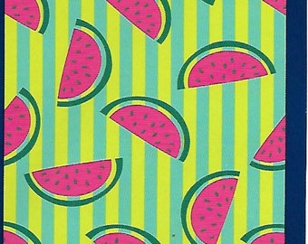 """30"""" x 60"""" Name Embroidered Beach / Pool Towel With Watermelon Slices Design"""