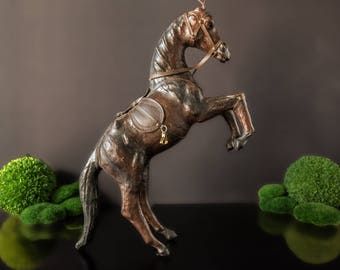 """Vintage Leather Covered Horse Statue Sculpture Rearing Horse Tall 17"""" English Equestrian"""