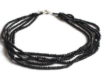 Multistrand necklace - Beaded necklace - Black Onyx necklace - Gemstone necklace - Monochrome necklace - Statement necklace - Jewelry