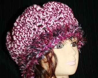beret wool pink and plum and fancy yarn