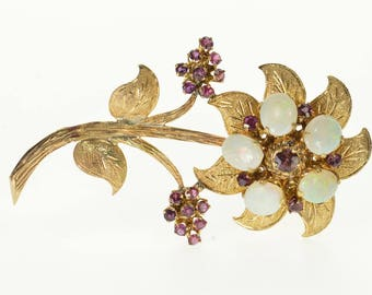 14k Opal Ruby* Enrusted Ornate Textured 3D Flower Pin/Brooch Gold