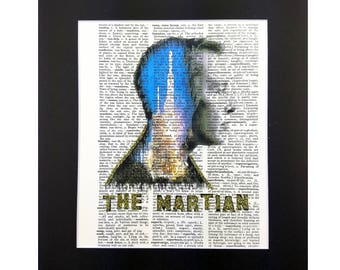 Elon Musk Space X Falcon Heavy on Vintage Dictionary Page Art Print, Wall Decor, Digital Manipulation with Sparks of Gold Glitter