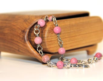 Sterling silver beaded bracelet with pink rhodosite, hand made  adjustable chain